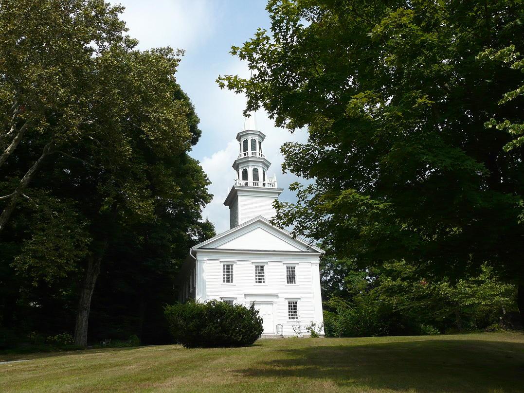 Easton Church nestled between trees